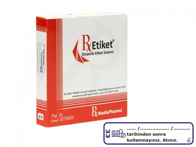 RxMediaPharma® RxEtiket® No. 33 500 Etiketli Tek Kutu