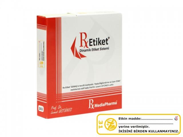 RxMediaPharma® RxEtiket® No.31 500 Etiketli Tek Kutu
