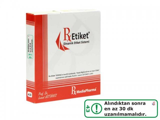 RxMediaPharma® RxEtiket® No.43 500 Etiketli Tek Kutu